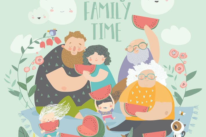 Thumbnail for Happy family eating watermelon in the park. Vector