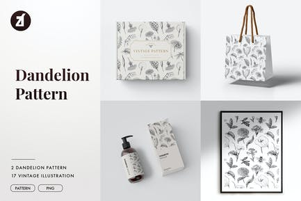 Dandelion vintage illustration and pattern