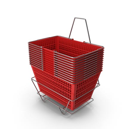 Set von 12 roten Einkaufskörben mit Ständer