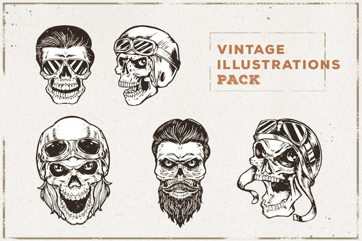 Thumbnail for Pack Illustration Crâne Vintage