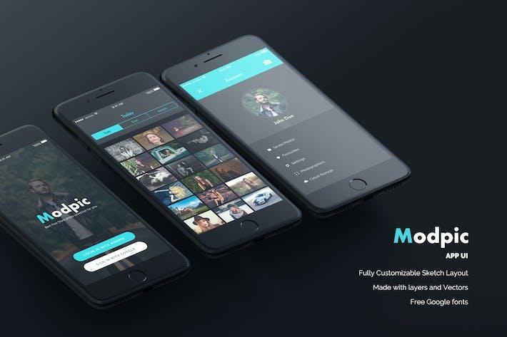 Thumbnail for Modpic App UI Mockup Sketch file