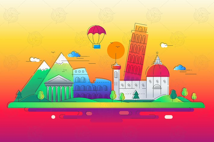 Thumbnail for Italy - vector line travel illustration