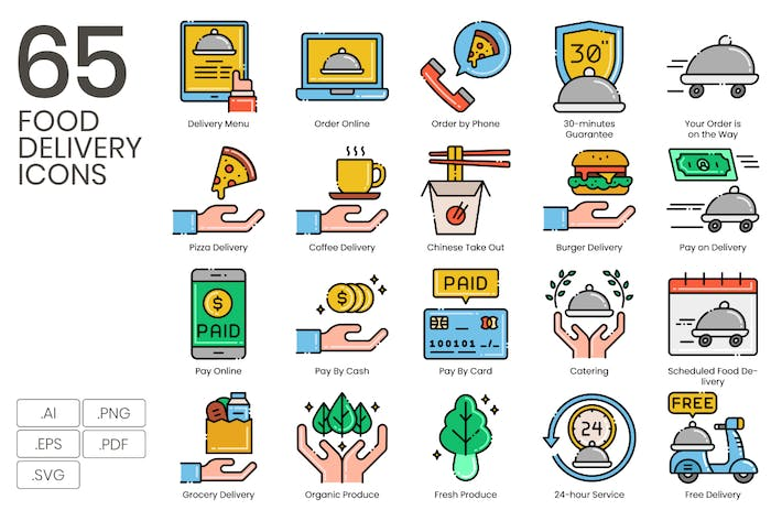 Thumbnail for 65 Food Delivery Line Icons