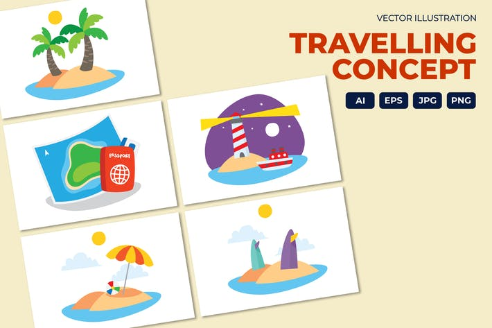Travelling concept, Beach and island vector