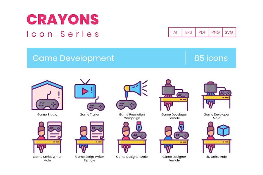 85 Icons für die Spieleentwicklung - Buntstifte-Serie