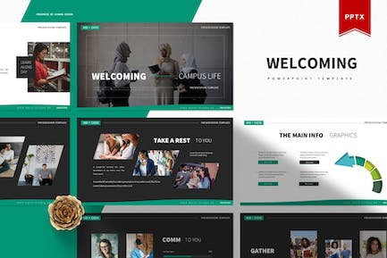 Welcoming Campus Life   Powerpoint Template