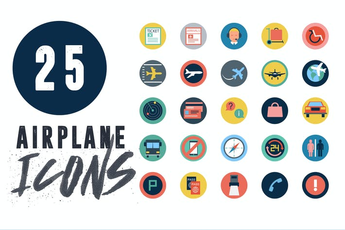 Cover Image For 25 Airplane Travel Flat Icons