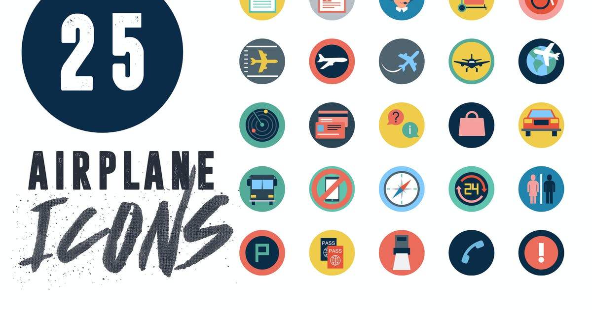 Download 25 Airplane Travel Flat Icons by thedighital
