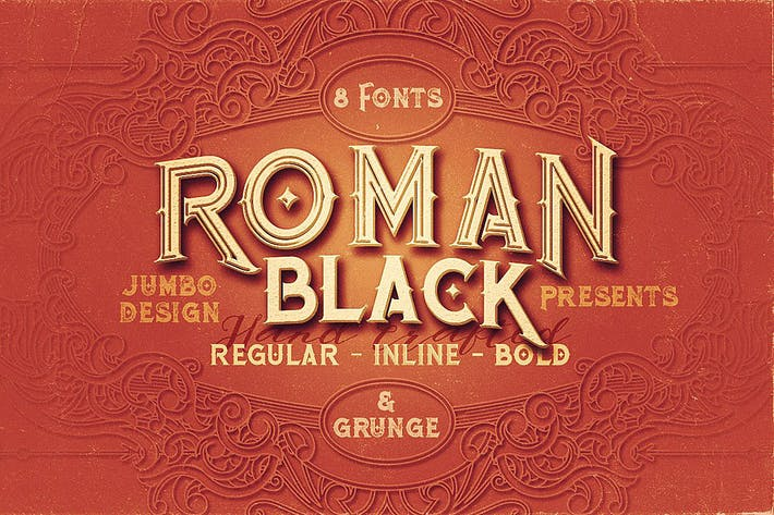 Thumbnail for Roman Black - 8 Display Fonts