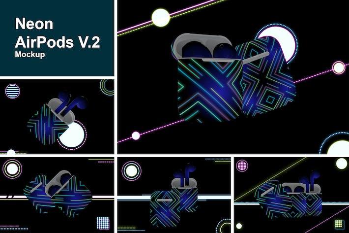 Thumbnail for Neon Airpods mockup V.2