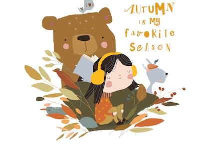 Cute Cartoon Girl meeting Autumn with Bear
