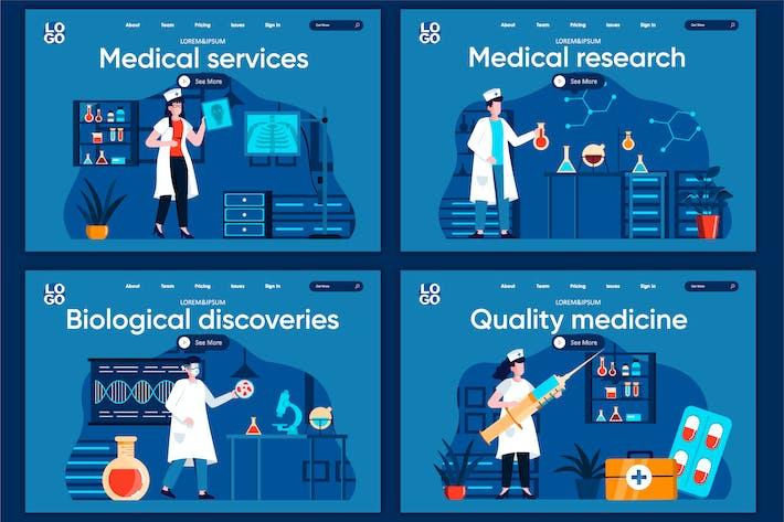 Modèle de page de destination du concept de plat de service médical