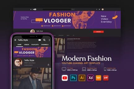 Youtube Cover Art Vol.16 Modern Fashion Channel