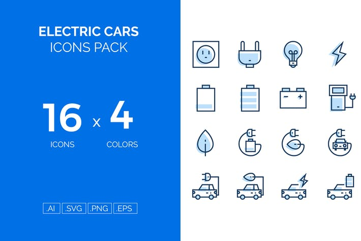 Thumbnail for Electric cars icons pack