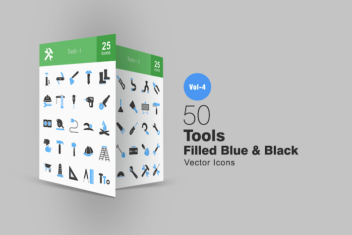 Thumbnail for 50 Tools Blue & Black Icons