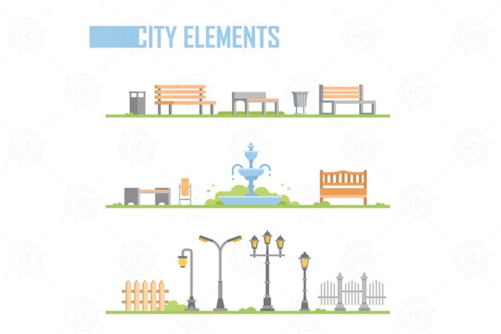 Thumbnail for City park elements - vector isolated set