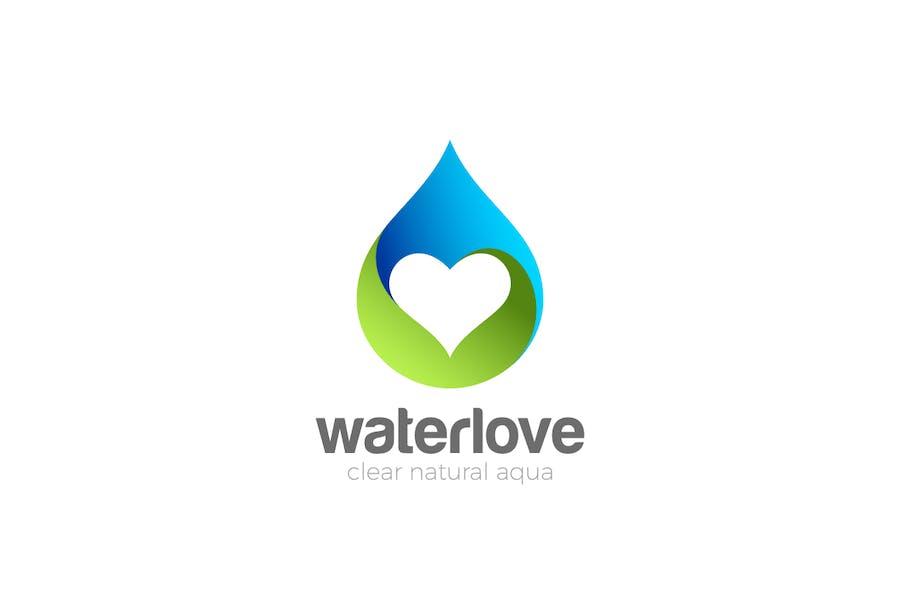 Logo Gouttelette d'eau avec cœur intérieur
