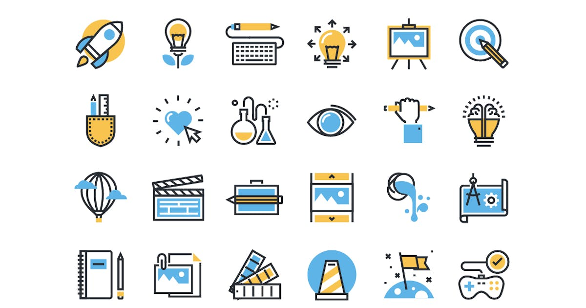 Download Flat line colorful icons collection by PureSolution