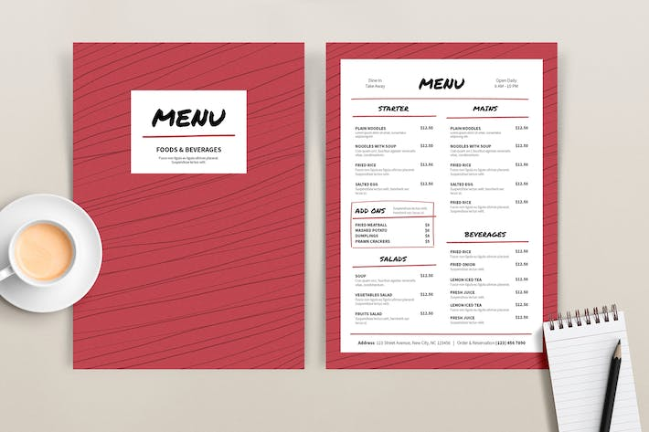 Thumbnail for Menu Red Lines Template