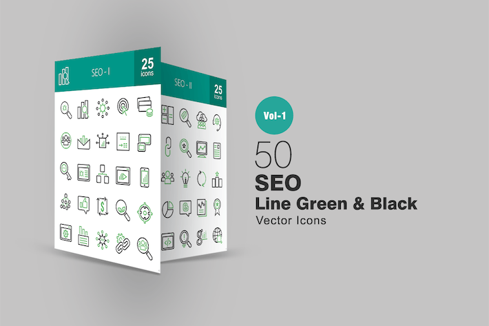 Thumbnail for 50 SEO Line Green & Black Icons