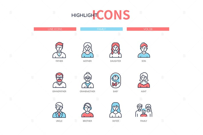 Family members - line design style icons set