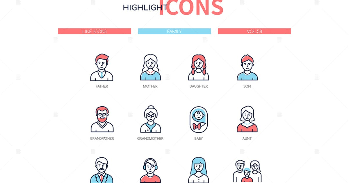 Download Family members - line design style icons set by BoykoPictures