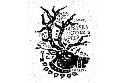 Illustration of vintage grunge hipster label