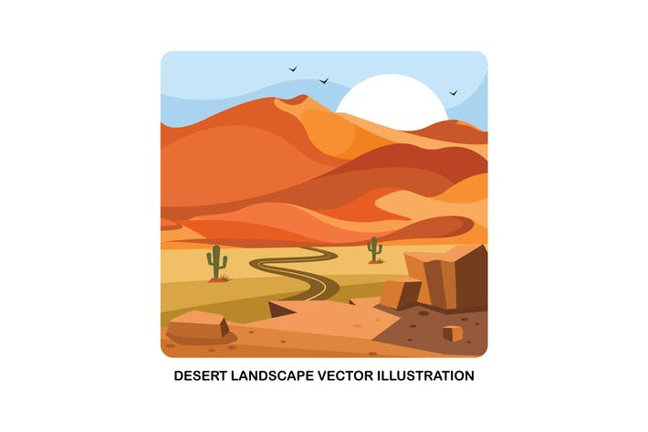 Thumbnail for Desert Landscape Vector Illustration