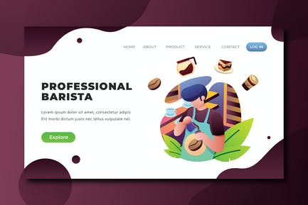 Professional Barista - PSD and AI Landing Page
