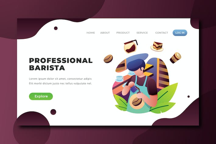 Thumbnail for Professional Barista - PSD and AI Landing Page
