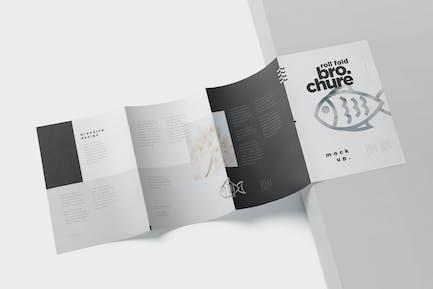 Roll Fold Brochure Mockup Set - Din A4 A5 A6