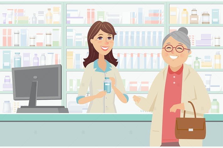 Senior woman at the pharmacy - illustration