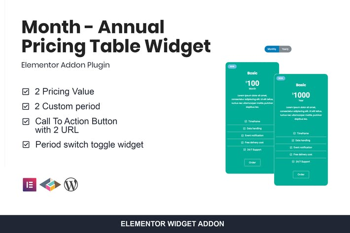 Thumbnail for Month - Annual Pricing Table Widget For Elementor