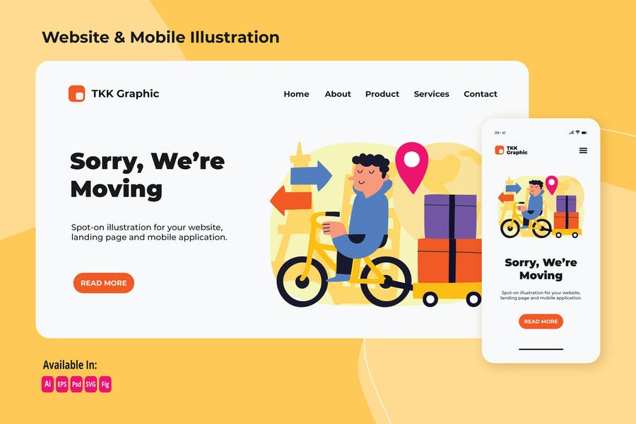 Business moving announcement web and mobile