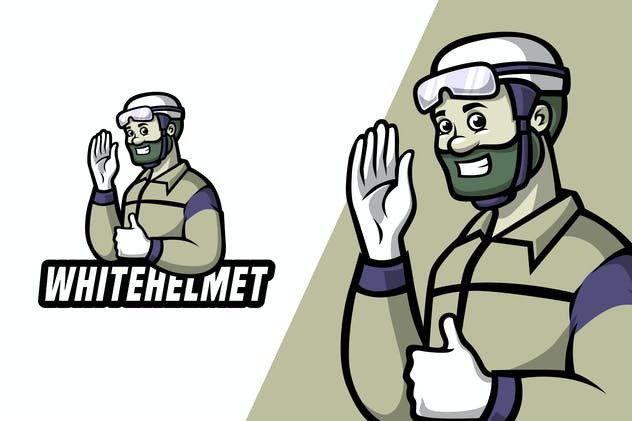 White Helmet - Mascot Logo Template - product preview 0