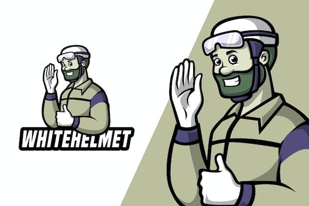 White Helmet - Mascot Logo Template