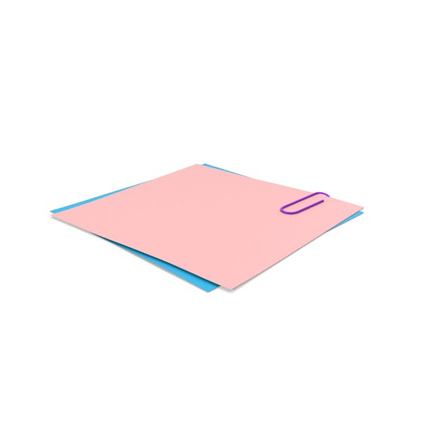 Pink & Blue Papers With Paper Clip