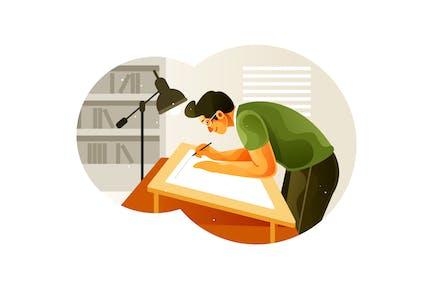 Le dessinateur travaille sur une planche à dessin