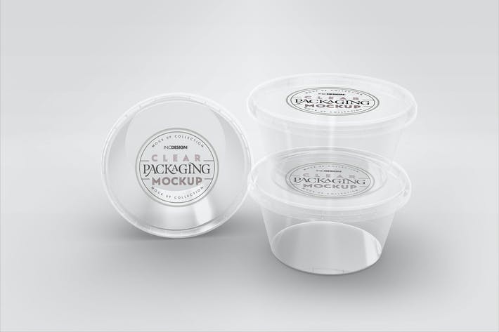 Thumbnail for Clear Round Sauce Containers Packaging Mockup