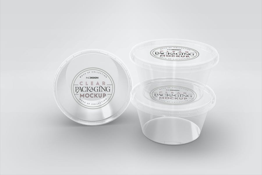 Clear Round Sauce Containers Packaging Mockup