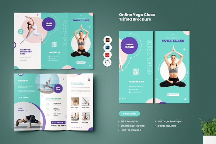 Online Yoga Class Trifold Brochure