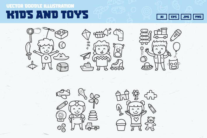Thumbnail for Kids and toy doodle collection