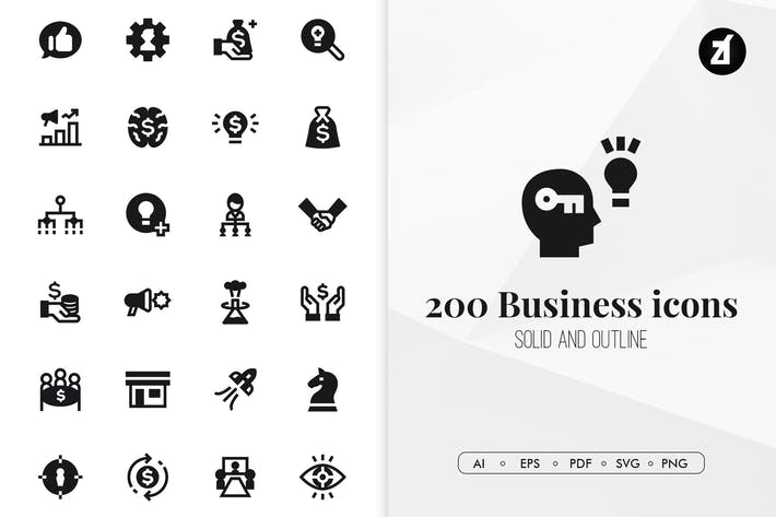 Thumbnail for 200 Business minimal icons