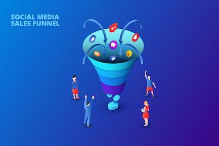 Dark Isometric Social Media Sales Funnel Concept