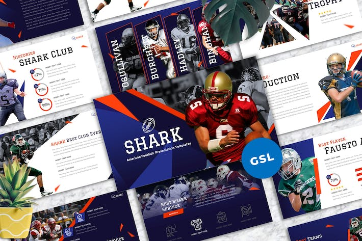 Thumbnail for Shark - American Football Googleslide Templates
