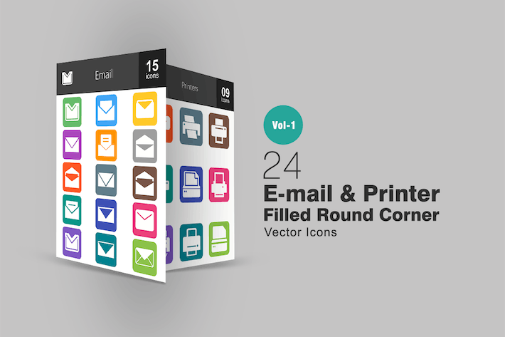 Thumbnail for 24 Email & Printer Flat Round Corner Icons