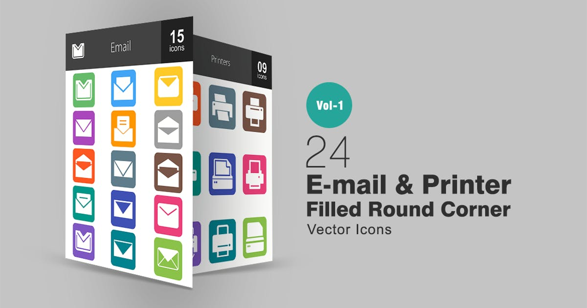 Download 24 Email & Printer Flat Round Corner Icons by IconBunny
