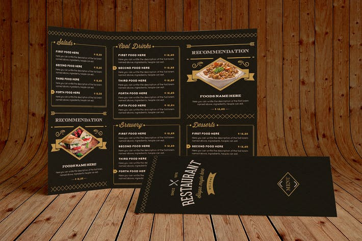 Cover Image For Elegant Food Menu 3 Illustrator Template