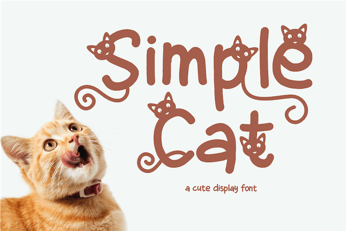 Thumbnail for Simple Cat - Cute Display Font