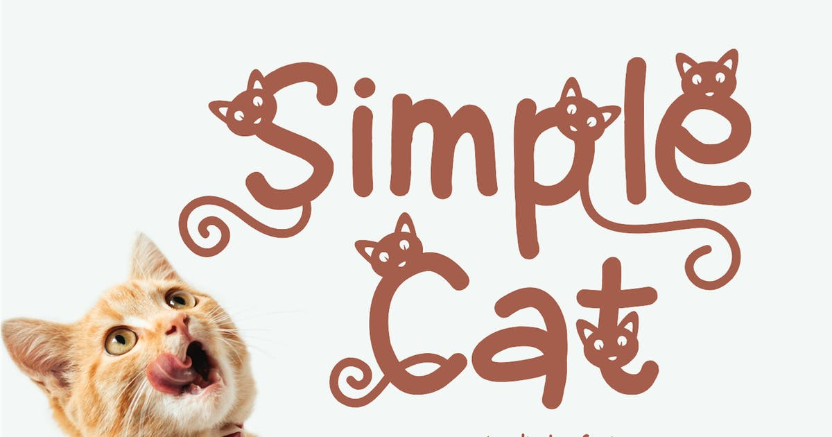 Download Simple Cat - Cute Display Font by CocoTemplates